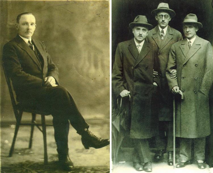 Ботинкам типа оксфордов Купала был верен долгие годы (слева), а на снимке с чешскими писателями Янка Купала (справа) выглядит как герой американского довоенного кино. Фото: Государственный литературный музея Янки Купалы