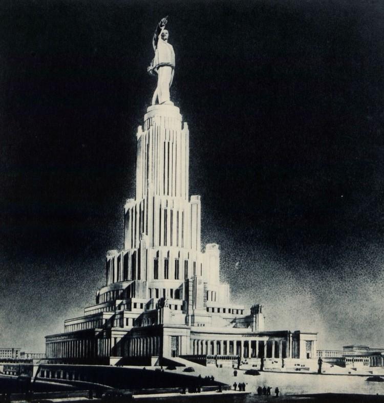 Гигантский Дворец Советов на месте храма Христа Спасителя поднялся бы к облакам на 415 метров.
