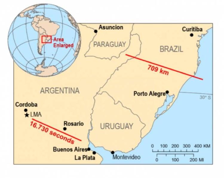 Карта расположения рекордных молний.