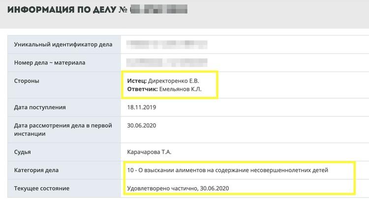 30 июня, как значится в актах на официальном сайте Мосгорсуда, иск Директоренко был частично удовлетворен
