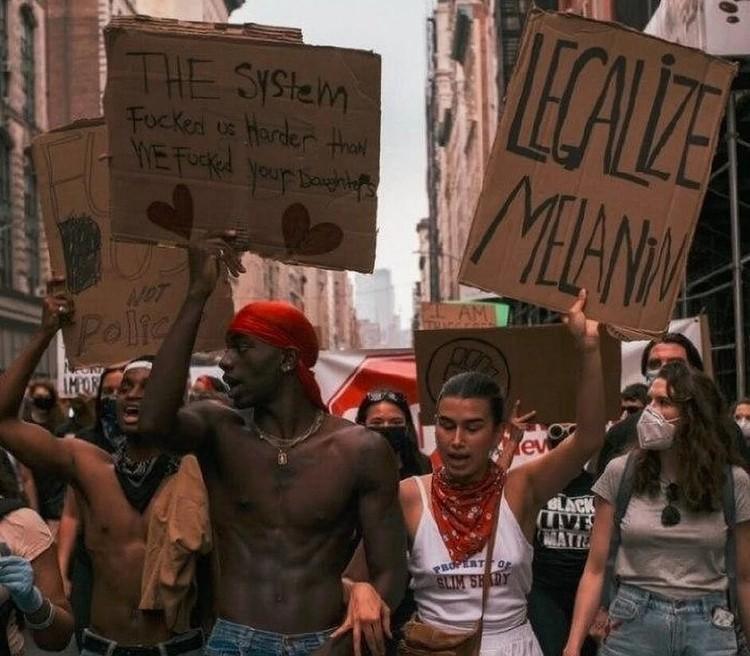 Эрика Куталиа с темнокожим женихом Мусой участвовала в акции протеста в Нью-Йорке.