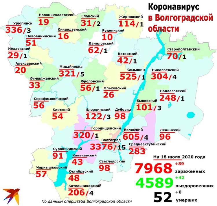 Карта распространения коронавируса в Волгоградской области на 18 июля 2020.