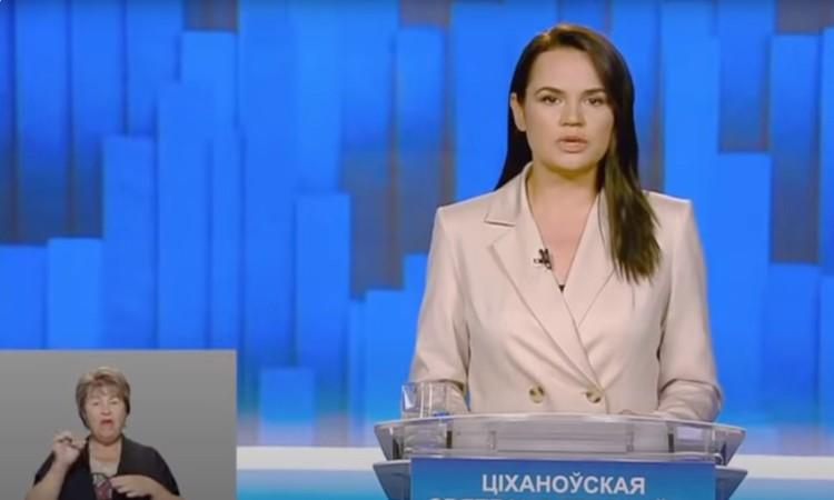 Светлана Тихановская. Скрин-шот экрана/Беларусь 1