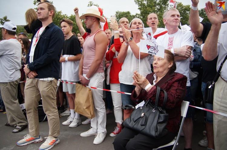 На пикете в Гомеле было не мало пенсионеров
