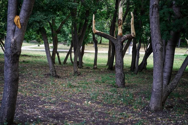 Скульптура из дерева «Болельщик» в парке «Дружба»