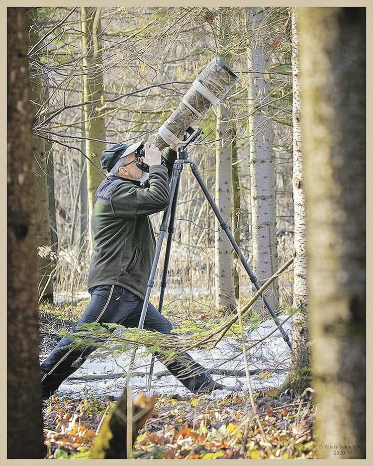 Чтобы сделать уникальные снимки, Олегу Першину приходится использовать телеобъективы. Они дают большие возможности. Только вот очень тяжелые. И все это приходится таскать на себе. Фото: Валерий Субачев.