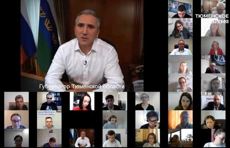 """Глава региона общался с представителями СМИ в режиме онлайн. Фото со страницы """"Тюменское время"""" в ВК"""
