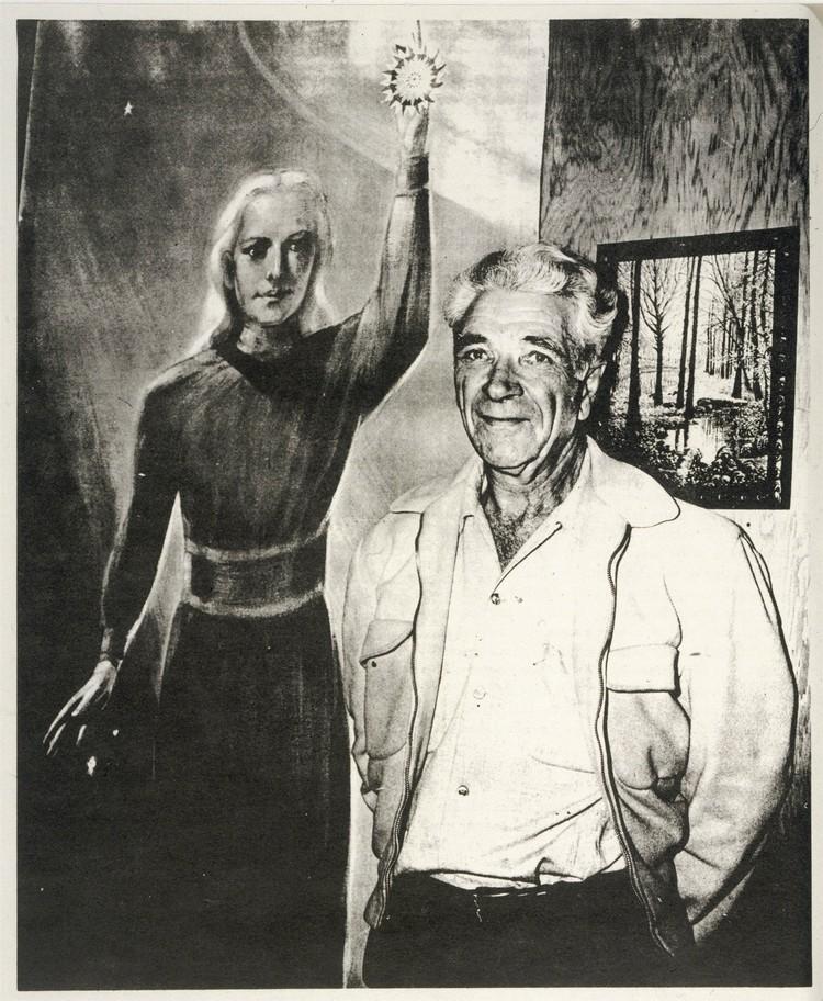 Джордж Адамски у картины, изображающей венерианского космического пилота, которого он встретил в пустыне Мохаве