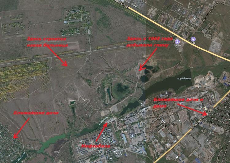 Карта расположения объектов вокруг территории, которая запланирована под свалку. Снимок со спутника Яндекс.Карты
