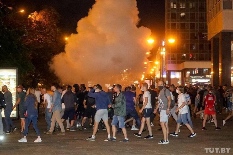 Уличный беспорядки в Беларуси после президентских выборов.