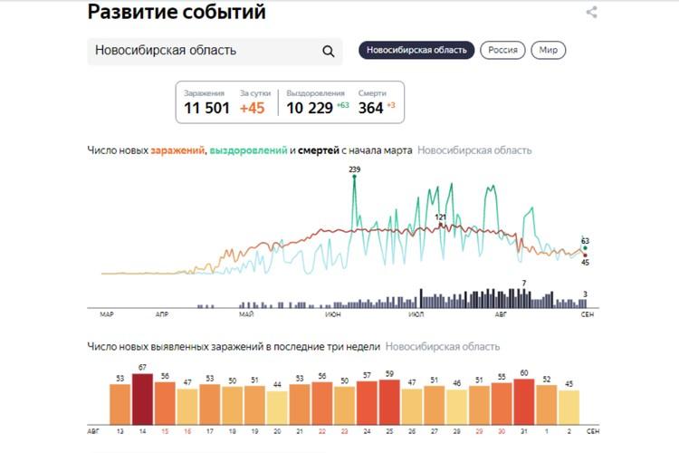 """Статистика заболеваемости COVID-19 на 3 сентября 2020 года в Новосибирской области. Фото: сервис """"Яндекс"""""""