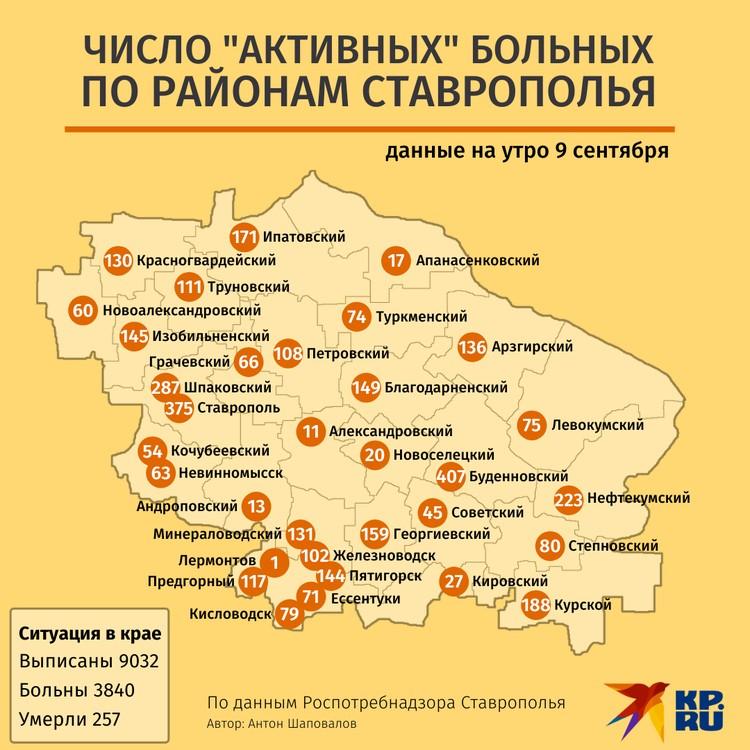 """Карта """"активных"""" пациентов на Ставрополье. Данные на 9 сентября: Роспотребнадзор"""