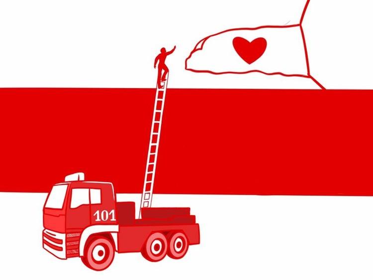 Символом Каскада стала машина МЧС в попытках снять флаг