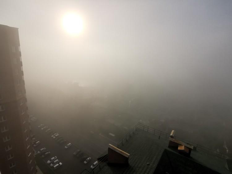 Солнце с трудом пробивается через туман