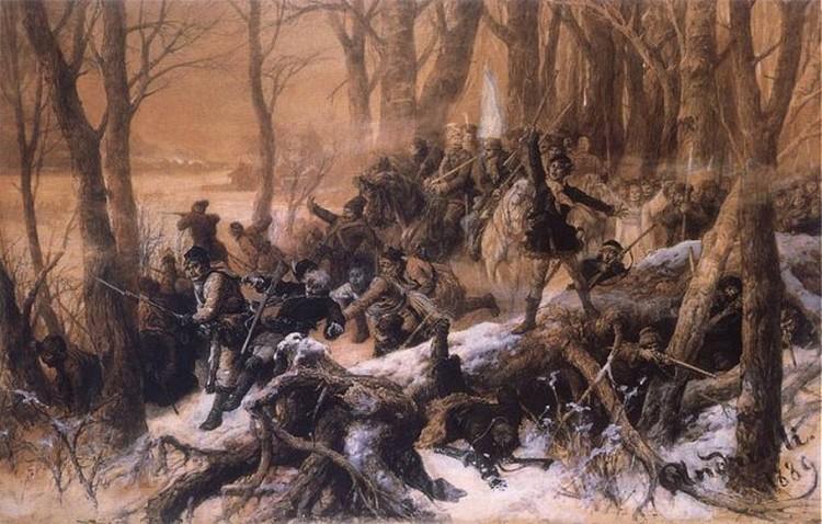 Шляхта или писала императору, или поднимала восстание - один из боев восстания 1863 года на графическом листе Михала Андриолли.