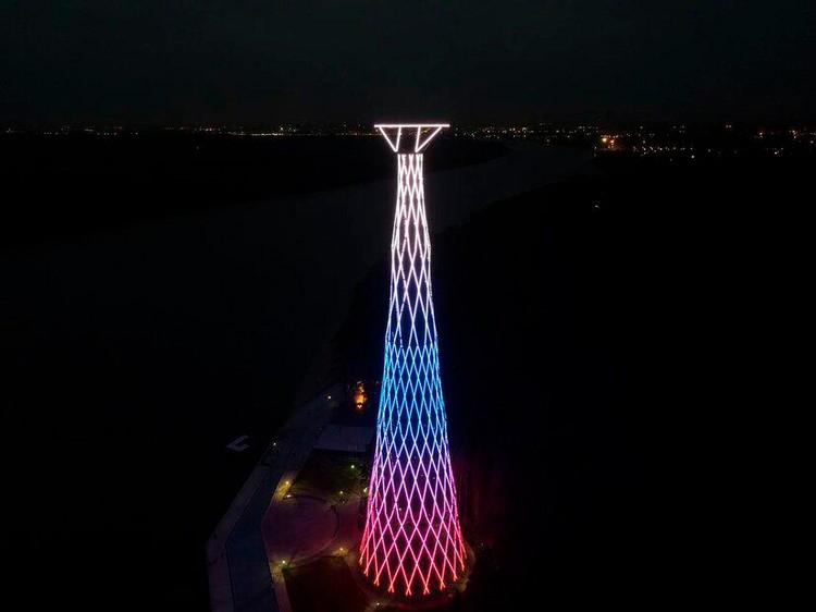 128-метровая башня была построена в конце 1920-х годов. Фото: Пресс служба ПАО «Россети»