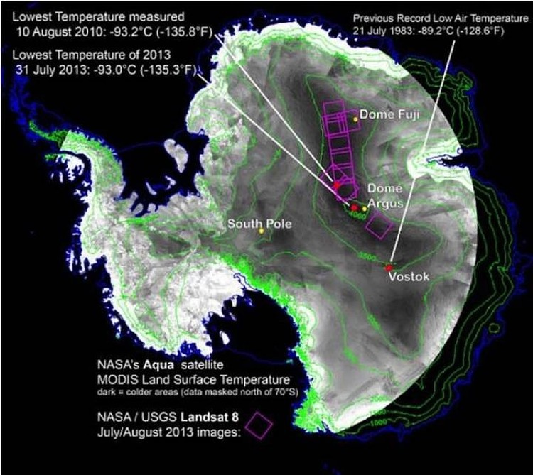 Места в Антарктиде, в которых регистрировались крайне низкие температуры. Фото: astronet.ru