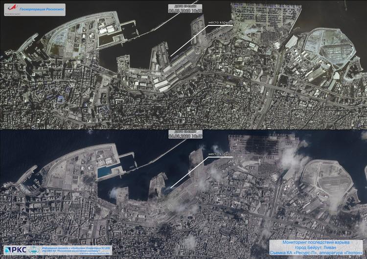 Знаменитые снимки последствий взрыва в Бейруте. Фото: предоставлены Роскосмосом.