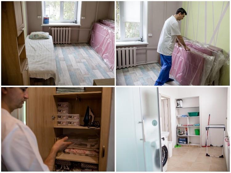 Для гостей есть все необходимое: постельное белье, утюг и стиральная машина. Скоро в комнате еще добавятся двухъярусные кровати.