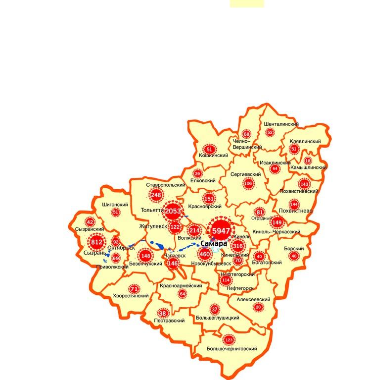 Карта распространения коронавируса в Самарской области на 6 октября 2020