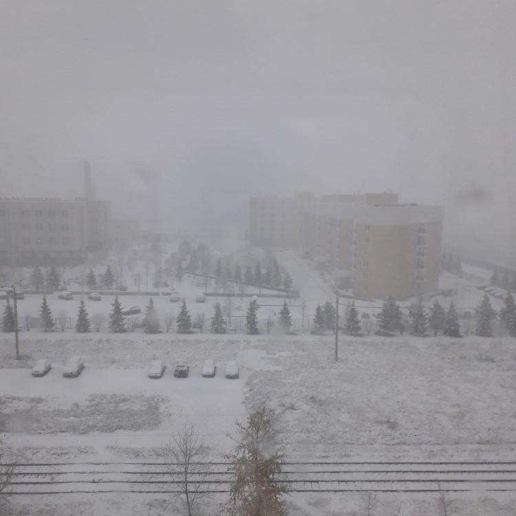 Из-за снега утром была плохая видимость Фото: СОЦСЕТИ/Ольга Глушко