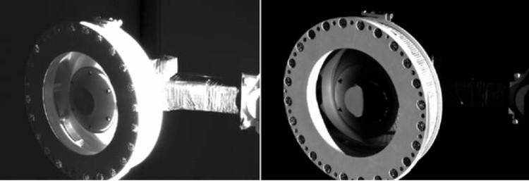 Контрольные снимки: головка руки TAGSAM, которая всасывала вещество астероида.