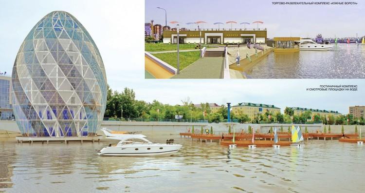 Концептуальная гостиница на воде и торговый центр около речного порта. Фото: Омский центр городской среды