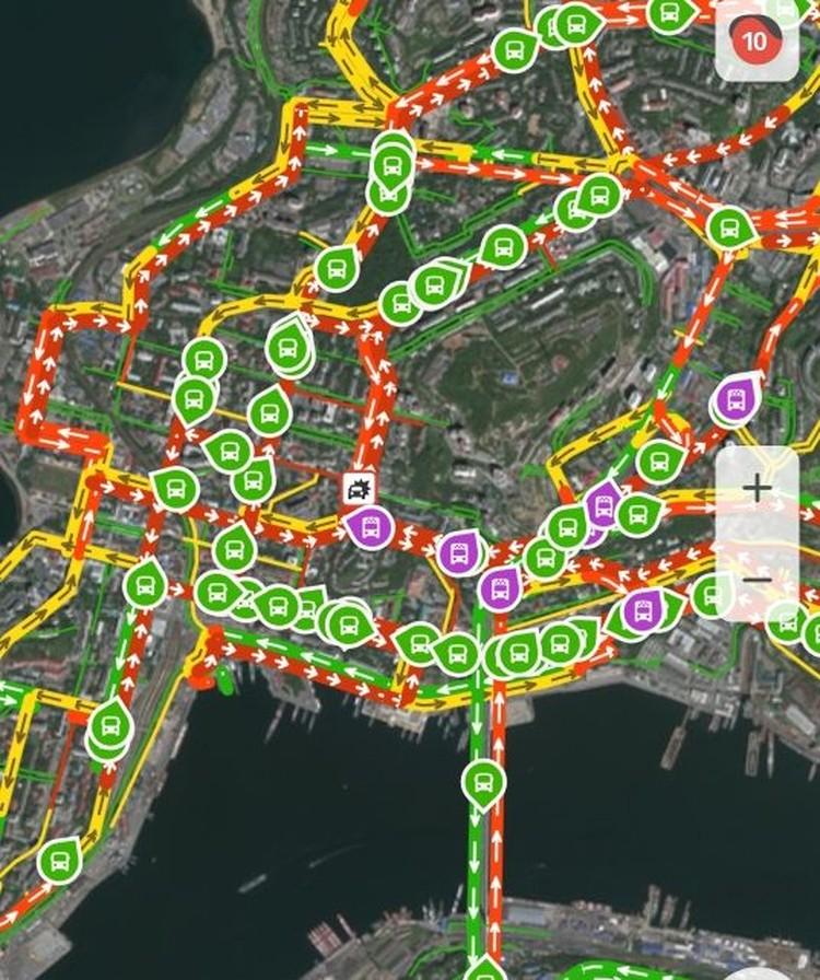 Пробки в городе достигли максимального уровня отметки