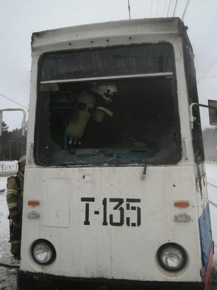 Пожар трамвая в Ангарске 10 февраля 2021