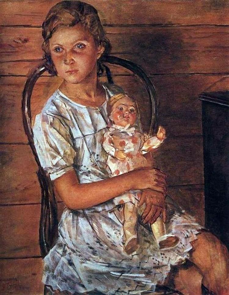 """Картина Петрова-Водкина """"Портрет Татули"""". Художник умер через два года после того как написал это полотно, но он успел дать наказ родителям крестницы: пусть Таня занимается хореографией."""