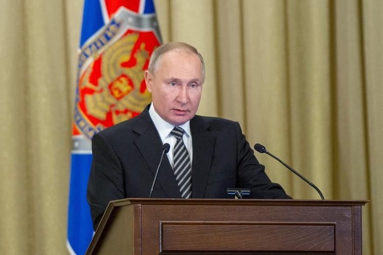 Владимир Путин во время выступления на коллегии ФСБ.