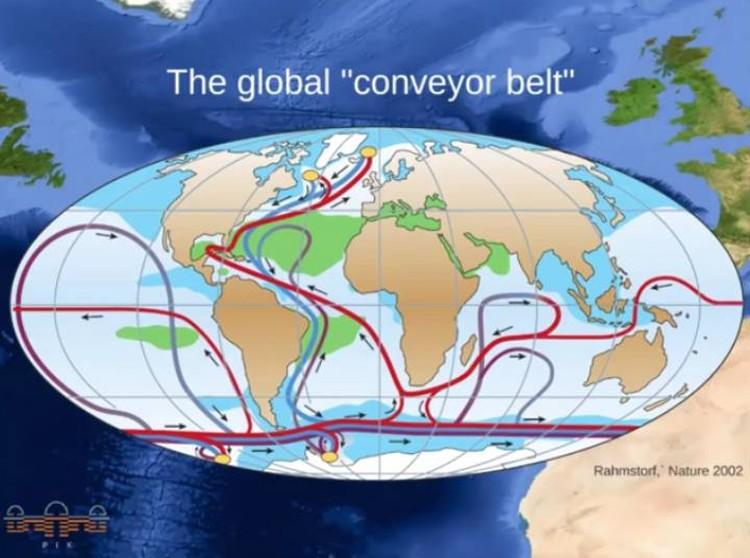 Схема глобального теплообмена посредством океанских течений. Процесс начал давать сбои.