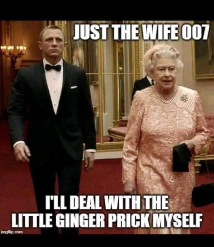 Чуть менее кровожадный вариант: - Только жену, 007. С рыжим я сама разберусь