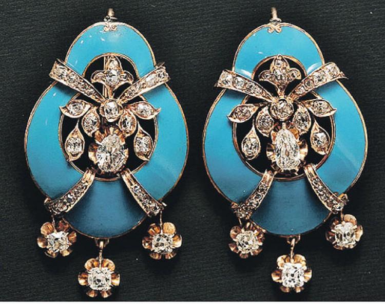 Золотые серьги с природными алмазами, бриллиантами и голубой эмалью. Зап. Европа, конец XIX века.