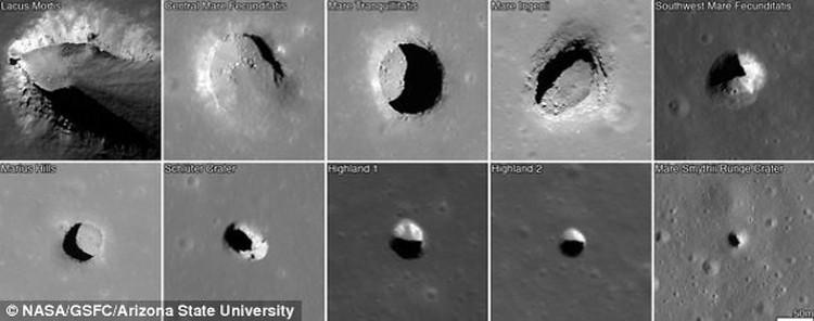 Образцы некоторых лунных дырок