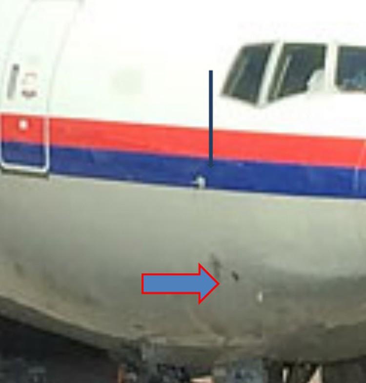 Повреждения на фюзеляже самолёта в Голландии