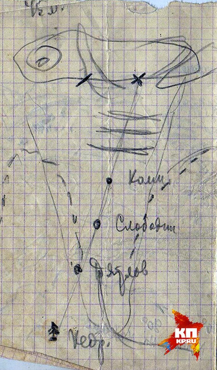 """Рисунок из дневника Масленникова, расследовавшего гибель группы """"дятловцев""""."""