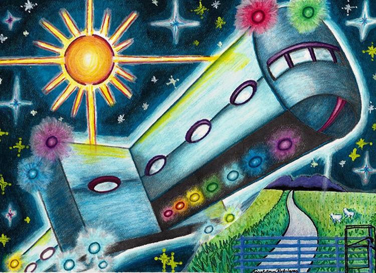 """Так местный художник-очевидец изобразил """"вагон"""", летавший над городом."""