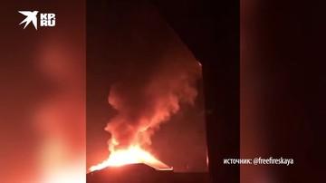 На АЗС в Чечне полыхает цистерна с топливом